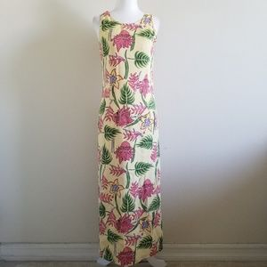 Silk Twill Tropical Floral Maxi Dress